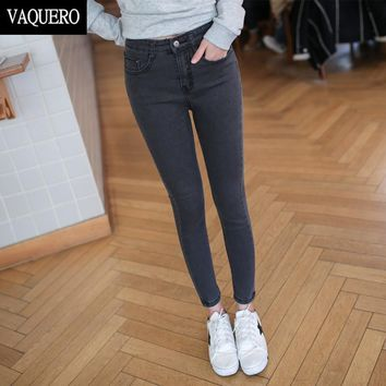 Basic 5-Pockets Mid Waist Skinny Jeans For Women 2017 Femme EASY TO WEAR Slim Fit Stretch Denim Pants Woman Black Gray Blue