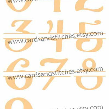 Split Numbers (0-9) Fun Fancy - Digital Cutting File - Instant Download - Graphic Design - Digital Cutting Machines - SVG, DXF, JPG