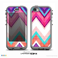 The Vibrant Teal & Colored Chevron Pattern V1 Skin for the iPhone 5c nüüd LifeProof Case