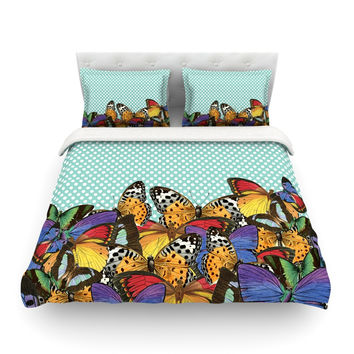 "Suzanne Carter ""Butterfly Polka"" Teal Multicolor Featherweight Duvet Cover"