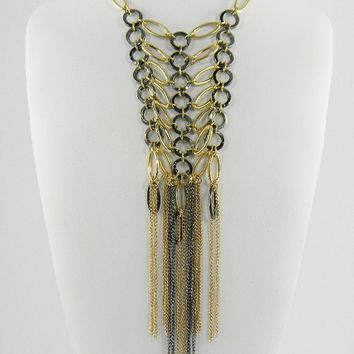 Chic Stella and Dot Style Metal & Gold Long  Oval and Circle Fringe Statement Necklace