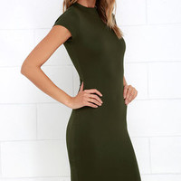 Chic Up Olive Green Bodycon Dress