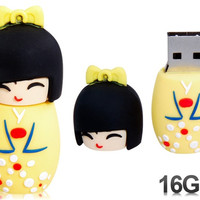 Cute Japanese Doll Design 16GB USB Flash Drive (Yellow)