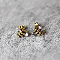 Cute Honey Bee Earrings, Sterling Silver Bee Stud Earrings, Honeybee Earrings, Insect Earrings, Bee Studs, Honeybee Jewelry, gift for her
