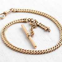 Vintage Rose Gold Filled Pocket Watch Chain - Hallmarked Simmons Swivel Clip & TBar Mens Serpentine Chain with Fob Attachment Jewelry