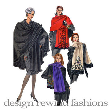 Vogue Wraps SCARF STOLE PASHIMA Style Poncho Pattern Evening Wrap Vogue 7628 v7628 One Size UnCUT Women's Vintage Sewing Patterns Very Easy