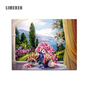 DIY Unframed Oil Painting By Numbers Colorful Flowers Window Pictures Canvas Painting For Living Room Wall Art Home Decor