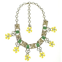 Dixon's Future Flower Necklace | Vintage Inspired Necklace | Green Yellow