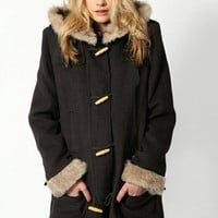 Free Shipping Bella Toggle Faux Fur Trim Wool Look Coat