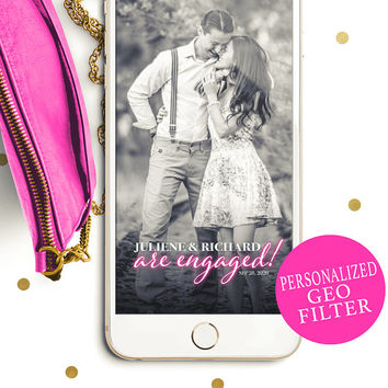 Engagement Party Snapchat Geofilter-Engaged Custom Color Filter-Modern Neon-Modern Typography Engagement Party Geofilter-Elegant Calligraphy