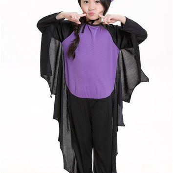 PEAPON 2017 kid Animal Cosplay Cute Bat Costume child Costumes For Girls Black Jumpsuits children Halloween Carnival Christmas costume