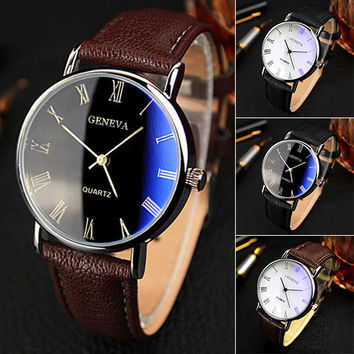 Blu-Ray Faux Leather Band Quartz Analog Business Watch