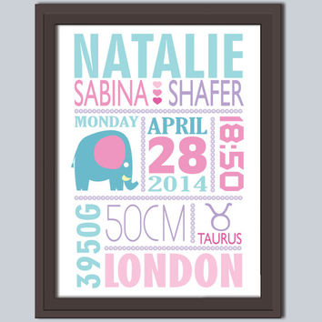 New baby girl announcement, Personalized baby birth stats gift Custom baby print, Décor Artwork, Wall Art, Baby Girl, New baby gift