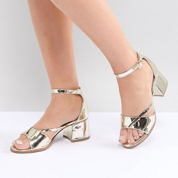 Lost Ink Wide Fit Rose Gold Block Heeled Sandals at asos.com