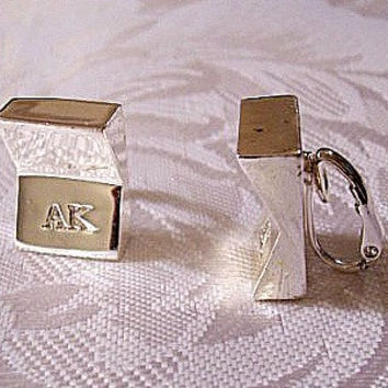 Anne Klein Square Clip On Earrings Silver Tone Vintage AK Signed Bevel Angles Mirror Reflective