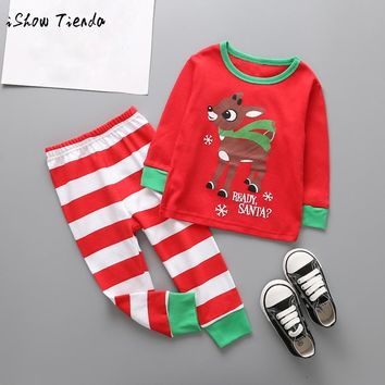 Toddler Kids Baby Girl Boy Christmas suit Deer Outfits Clothes long sleeve O-Neck T-shirt Top+Pant Set Winter home costume wear