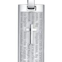 Men's Stainless Steel Lord's Prayer and Cross Pendant Necklace - Tobona.com