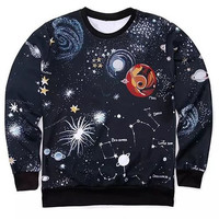 3D Outer Space Print Round Neck Long Sleeve Sweatshirt