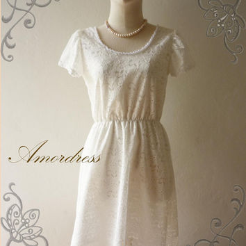 MIDYEAR SALE Amor Vintage Inspired Vintage Dolly Sleeve  Whimsical White Lace Dress -  Im Just Romantic- Fit S-M