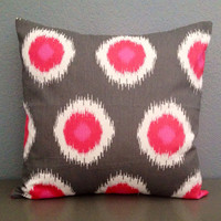 Throw Pillow Decorative Cushion Pillow Covers Accent Pillow BOTH Sides Pink White Charcoal Grey 18x18 Cushion Cover