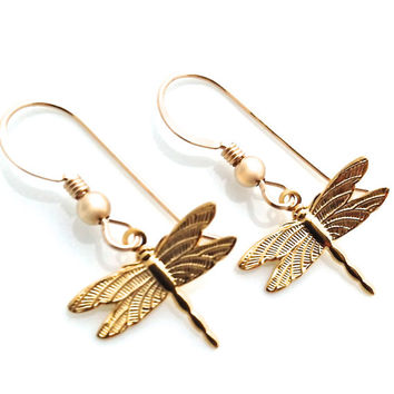 Dragonfly Earrings, Gold Dragon Fly, Dragonfly Jewelry, Cute Animal Earring, Simple Dangle, Delicate Earring, Summer Earring, Nature, Tiny