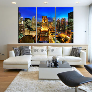 Large Wall Art Canvas Print Chicago City Skyline at Night - 3 Panel (3 Piece) Chicago Canvas Art Print - Framed Crisp Prints