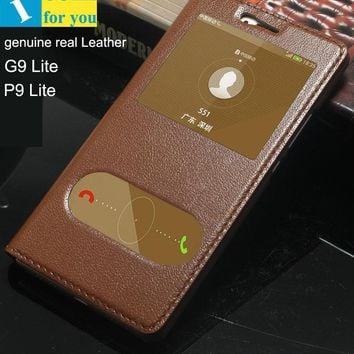 genuine real Leather Case Cover For Huawei G9 Lite P9 Lite Window Slide answer Flip Book Wallet bag