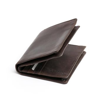 391006 Bifold Hipster Wallet in Dark Brown Leather | Style n Craft