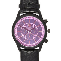 River Island MensBlack mirrored face watch