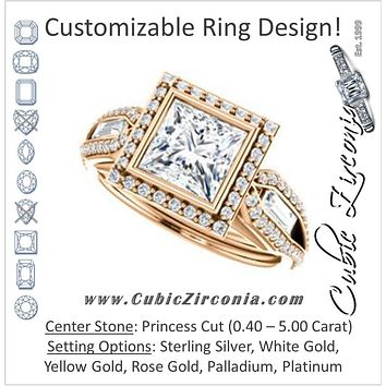 Cubic Zirconia Engagement Ring- The Alekhya (Customizable Cathedral-Bezel Princess Cut Design with Halo, Split-Pavé Band & Channel Baguettes)