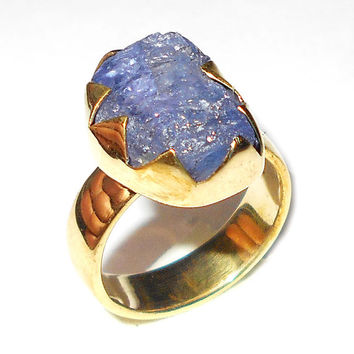 Tanzanite Ring - Raw Stone Ring - Rough Tanzanite Ring - Handmade Gemstone Ring - Cocktail Ring - Gold Ring - Designer Ring, Gift For Her