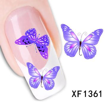1sheets NEW Arrival Fashion DIY Tips Purple Bow Stamping Nail Art Stickers Watermark Tattoos Decorations for Polish LAXF1361