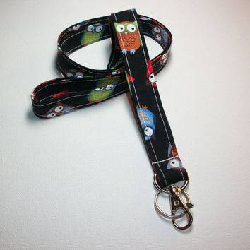 Lanyard  ID Badge Holder - Owls on Black - Lobster clasp and key ring