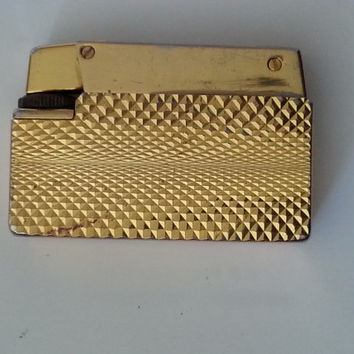 Vintage Cigarette Lighter / Gold Metal Lighter  / 1950's Cigarette Consul Diplomat Swiss Lighter