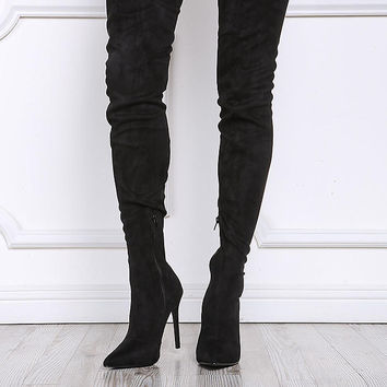 Black Thigh High Pointed Toe Boots