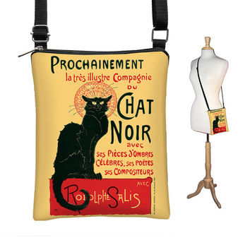 SALE Le Chat Noir  Sling Bag,  Black Cat Small Shoulder Bag, Fabric Handbag Crossbody Purse Travel Organizer, zipper red yellow black (MTO)