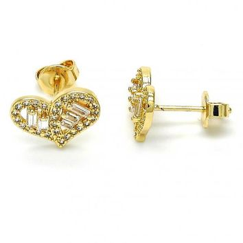 Gold Layered 02.94.0069 Stud Earring, Heart Design, with White Cubic Zirconia, Polished Finish, Golden Tone