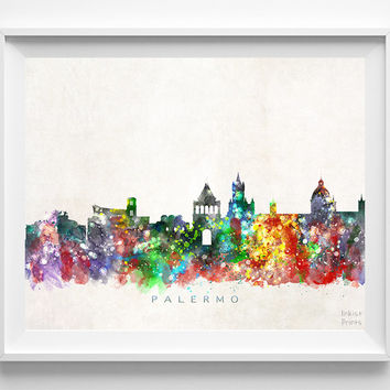 Palermo Skyline Print, Italy Poster, Palermo Wall Art, Italy Cityscape, Watercolor Painting, Giclee Art, Home Decor, Christmas Gift