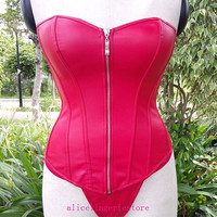 New Red Zipper Leather Corset Strapless PVC Fashion Overbust Hot Sexy Women Corsets