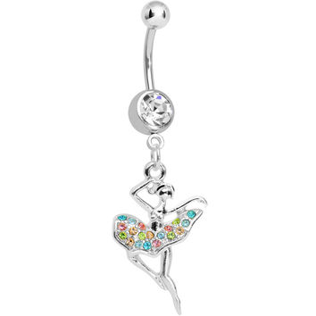 Clear Gem Multi Colored Tutu Ballerina Dangle Belly Ring