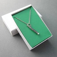 Clarinet Necklace Small Sterling Silver Charm And Chain Band Gift Box