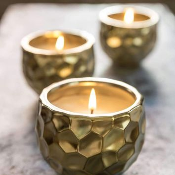 COMPASS SMALL GOLD DIMPLED CANDLE
