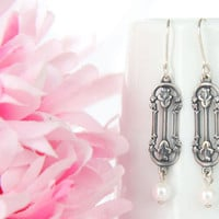 Edwardian Earrings - Silver Art Nouveau Jewelry -  Antiqued Silver Flowers and Pearl Dangle Petite Earrings