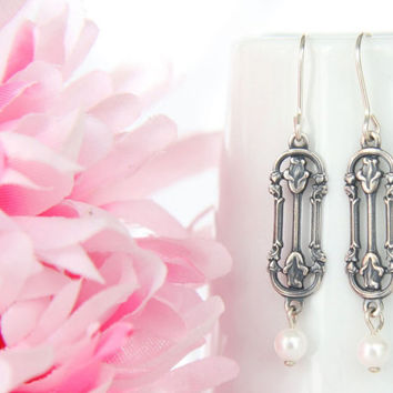 Art Nouveau Earrings - Silver Art Nouveau Jewelry - Antiqued Silver Flowers and Pearl Dangle Petite Earrings