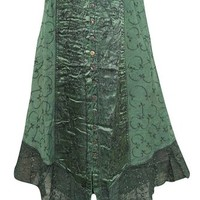 Boho Women's Skirt, Green Stonewashed Button Front Embroidered Rayon Gypsy Maxi Skirts Large