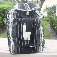 Peruvian Handmade tribal backpack black and white