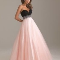 Pink and Black strapless prom dress