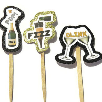 12 Pop Fizz Clink Food Picks - New Years Eve Decorations - Cupcake Toppers