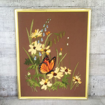 Embroidery Wall Art Vintage Crewel Butterfly and Flowers Wall Art Framed Embroidery Wall Hanging Crewel Picture Needlepoint Wall Hanging