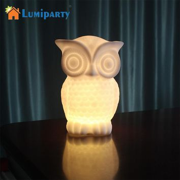 Lumiparty LED Night Light Baby Owl Shape White/Warm White Light PVC Table Lamp Indoor Decorative Nightlight Kid Room Party Decor